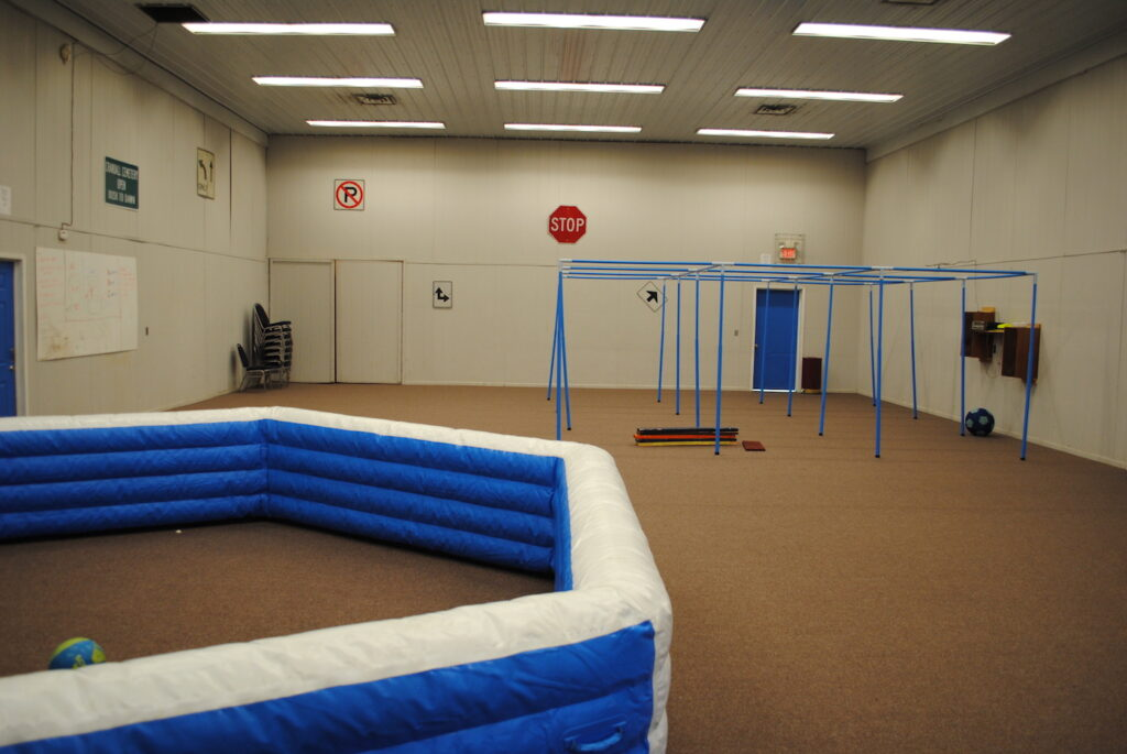 The Activity Barn, set up for indoor 9 Square and Gaga Ball