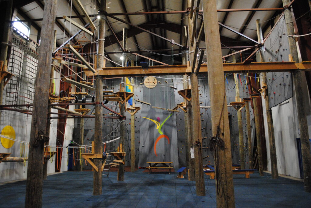 The indoor high ropes at Eagle Village features multiple entrances and exits for a unique challenge every time